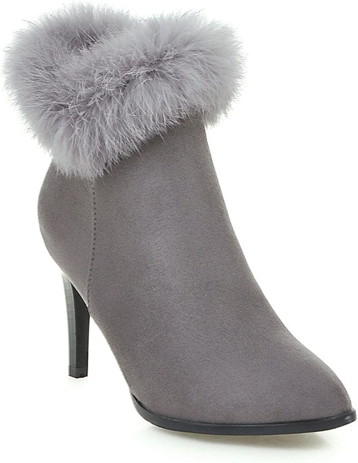 Lucksender Womens Pointed Toe Side Zip Frosted Short Plush Thin High Heel Boots