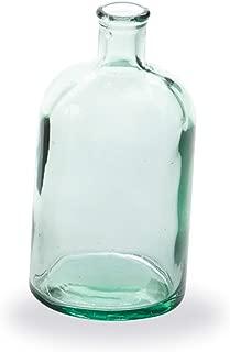 Mud Pie Clear Spanish Class Bottleneck Small Glass Vase, White