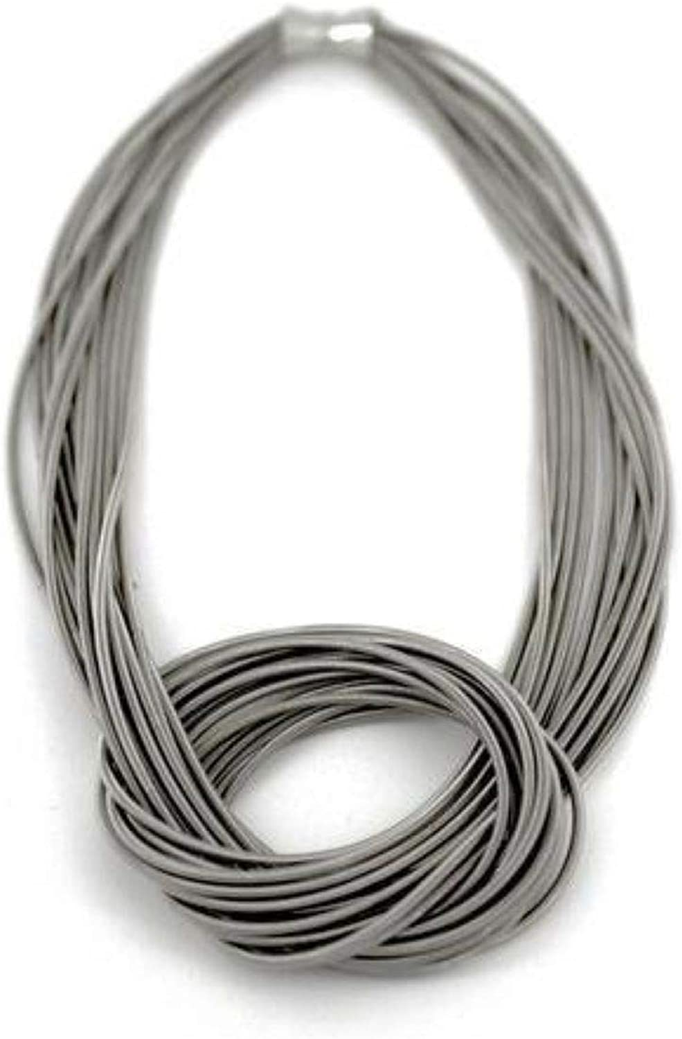 New item Sea Lily Piano Wire Knot Necklace Magnetic Tone Year-end annual account Silver with Clos