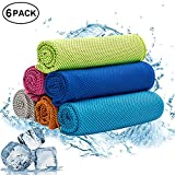 W-ShiG 6 Pack Cooling Towel, Super Absorbent Cooling Towel for Sports, Workout, Fitness, Gym, Yoga, Pilates, Travel, Camping