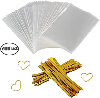 """Clear Treat Bags 200 PCS (4"""" by 6"""") Cellophane Bag Party Favor Bags with 200PCS Twist Ties for Wedding Gift Cookie Candy"""