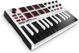 Akai Professional MPK Mini MKII | 25-Key Portable USB MIDI Keyboard With 16 Backlit Performance-Ready Pads, 8-Assignable Q-Link Knobs & A 4-Way Thumbstick White MPK Mini White