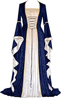 Clearance Renaissance Dress,Forthery Womens Medieval Costume Dress Lace up Irish Over Long Dresses Cosplay Retro Gown