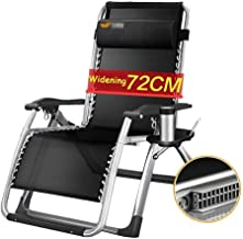 High-quality recliner Zero Gravity Chair Zero Gravity Lounger Chair Oversized, Balcony Recliner Chair with Cup Holder Folding Wide Seat Detachable Neck Pillow Sun Lounger (Color : Silver)