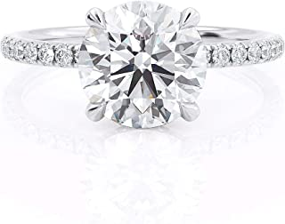 Keyzar Engagement Rings for Women, Handmade Hidden Halo Round Cut Moissanite Diamond Solitaire, Pave, 14k or 18k Real White Gold Wedding Promise Ring for Her, with Box (1.9ct, D-F Color, VVS1 Clarity)