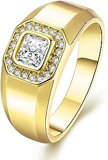Uloveido للجنسين 9 ملم مطلية بالذهب خواتم وعد الخطبة الأزياء مكعب زركونيا مجوهرات للرجال (مقاس 6 7 8 9) KR204
