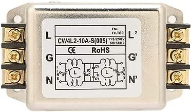 Power Line Filter, Compact Single/Dual Pole Single-Phase Power Line EMI Filter Terminal 115V/250V 10A 50/60Hz for Mechanical Equipment Treadmills