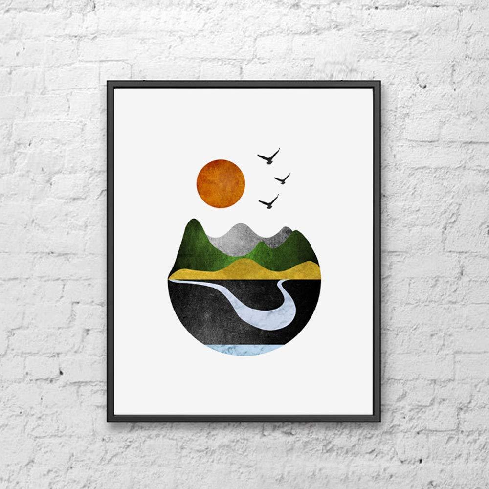 Mountains Product Art Print Sun Minimal Home 5 popular Geometric Wall Decor