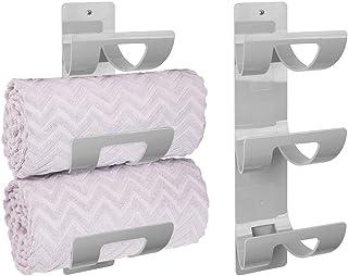 mDesign porte-serviette mural (lot de 2) – porte-serviette à trois compartiments – accessoire de salle de bain chic pour s...