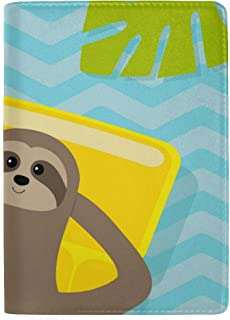 The Lovely Little Sloth is Sleeping Blocking Print Passport Holder Cover Case Travel Luggage Passport Wallet Card Holder Made with Leather for Men Women Kids Family