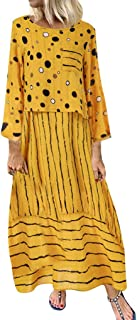 Womens Fashion Maxi Dresses Autumn Cotton Plus Size Polka Dots Long Sleeve Loose Tunic Dress Casual Wedding Party Dress