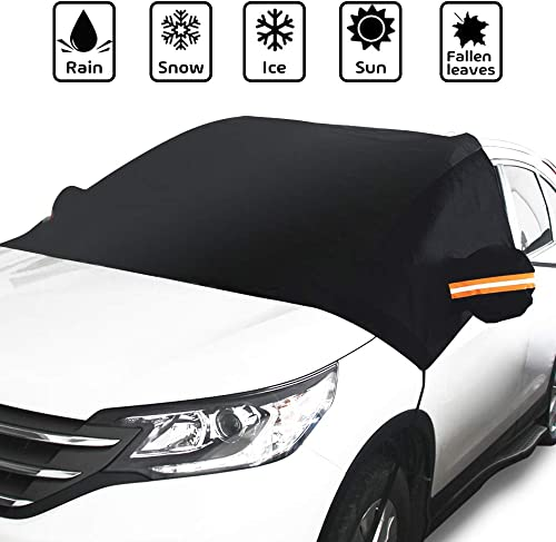 UKON Car Windshield Snow Cover Foldable Waterproof Auto Windshield Protectors All Weather for Ice,Snow,Frost,UV Protection,Fits Most Cars and SUVs Silver