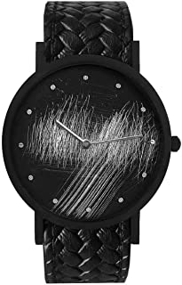 South Lane Swiss Quartz Stainless Steel and Leather Casual Watch, Color:Black (Model: core-SL-115)