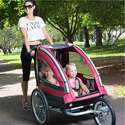 HBIAO Child Bike Trailer, 3-in-1 Double 2 Seat Bicycle Bike Trailer Jogger Stroller for Kids Children Foldable Bike Trailer,Yellow