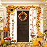 Whaline Fall Greeting Porch Sign, Be Thankful Hanging Banner Pumpkin Maple Leaf Sunflower Backdrop Flag for Home Yard Indoor Outdoor Wall Door Thanksgiving Party Decorations, 12 x 72 Inch
