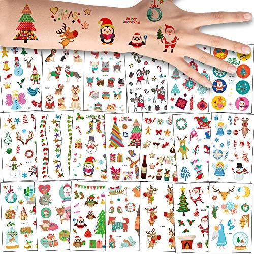 Bibivisa 180x Navidad Tatuajes Temporales Nios Nias, La Misa del Gallo Tatuaje Falso Pegatinas Dibujos Animados para Infantiles de Favor de Nochevieja Fiesta Bolsa de Regalo