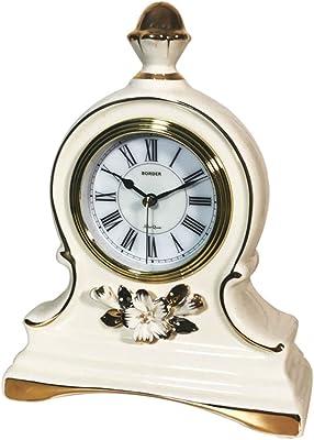 TYCGY European Clock Creative Ceramic Mute Desktop Clock Clock Living Room Clock Decoration (Color :