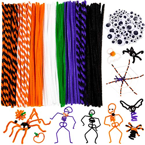 Whaline 500Pcs Halloween Pipe Cleaners Set Includes 8 Colors Chenille Stems...