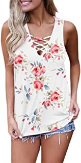 0c0c003528bea1 Feiersi Women's Summer Sleeveless Criss Cross Casual Tank Tops Basic Lace  up Blouse