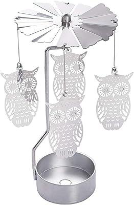 Spinning Turning Golden Candle Holder Mood Light Tea Light Holder Owl 5inch