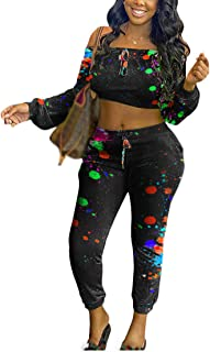 Aro Lora Womens Sexy 2 Piece Tracksuit Outfit Graffiti Print Off Shoulder Crop Top Set