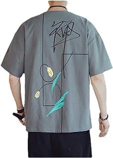 MogogN Mens Floral Print Linen Summer Vintage Round Neck Short-Sleeve Shirt Top