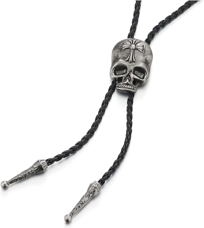 Punk Rock Vintage Cross Skull Bolo Tie Necktie, Lariat Rodeo Long Y Necklace, Black Braided Leather