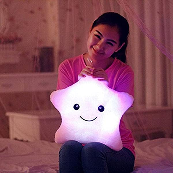 Missley Creative Star Pillow Glowing LED Night Light Star Shape Plush Pillow Stuffed Toys Purple