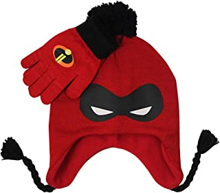 Girls' Little Incredibles Mask Knit Peruvian Winter Beanie and Glove Set, red, One Size