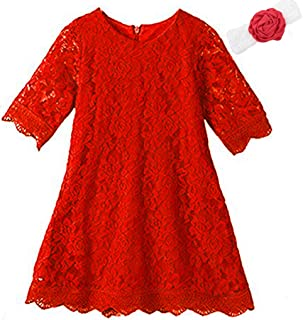 Girls Lace Flower Dress Casual Crew Neck Floral A-Line Party Dress