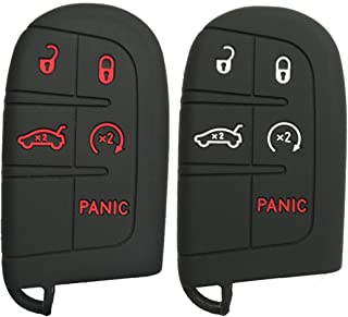 Alegender Qty(2) Rubber Smart Key Cover Case Holder for Jeep Grand Cherokee Chrysler 200 300 Dodge Durango Charger Challenger Journey 5 Buttons Remote Fob Key