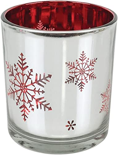 Just Artifacts - Christmas Metallic Votive Candle Holder - 3-Inch - Silver and Red Snowflakes - Glass Votive Candle H...