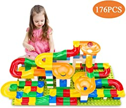 TEMI 176 PCS Marble Run Super Sets for Kids, Marble Race Track for 3+ Year Old Boys and Girls, Marble Roller Coaster Building Block Construction Toys, Puzzle Maze Building Set with 6 Marbles Balls