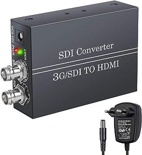 LiNKFOR Convertidor SDI a HDMI con Salida SDI Full HD 1080P con Fuente de Alimentación BNC a HDMI SDI IN HDMI out 3G-SDI HD-SDI SD-SDI a HDMI Adaptador Conversor para cámara SDI HDTV