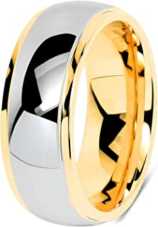 خواتم من كربيد التنجستن للرجال - 8 مم خواتم زفاف مطلية بالذهب خاتم الخطوبة عالي البولندية قبة الراحة تناسب الحجم 7-13