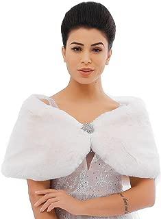 Women's Faux Rabbit Fur Wraps and Shawls Bride Wedding Fur Stole Bridal Fur Shrug for Women and Girls