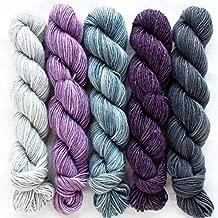 Manos Del Uruguay Silk Blend Fino Mini-Skein Set 2 Beatrix, 5 x 20g, Merino Silk Hand Dyed Yarn