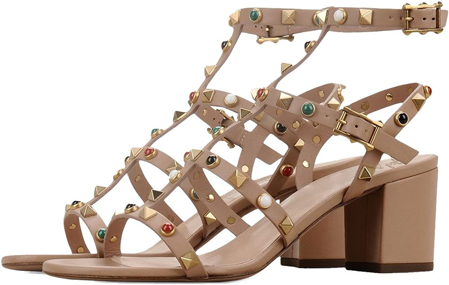 Amy Q Summer Open Toe Ankle Strap Buckle High Heels Gladiator Sandals For Casual Women shoes