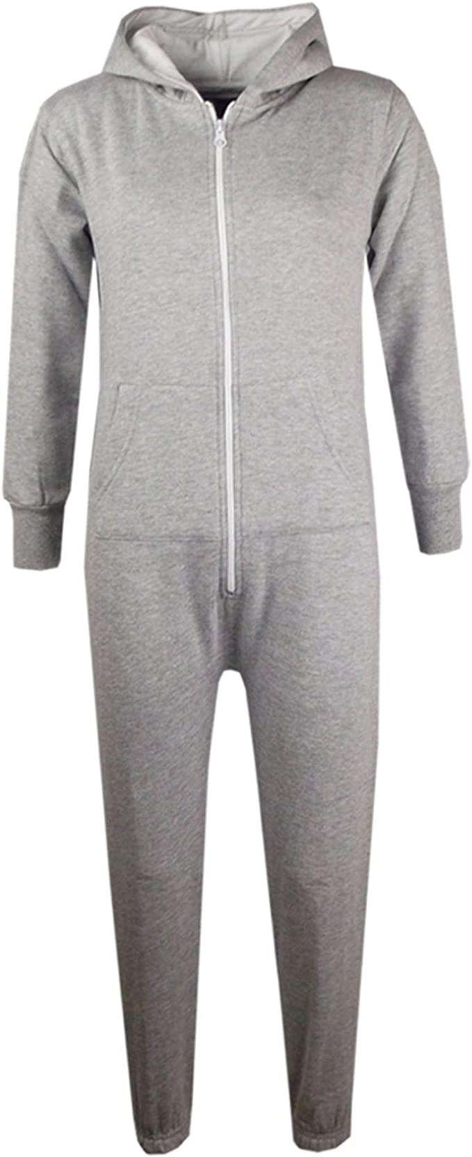 Top Fashion18 Unisex Kids Girls Boys Plain Color Fleece Hooded Onesie All in One Age 7-13