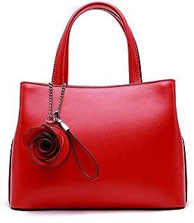Fashion Simple and Versatile Compact Bills Shoulder Slung Leather Handbags (Color : Red)