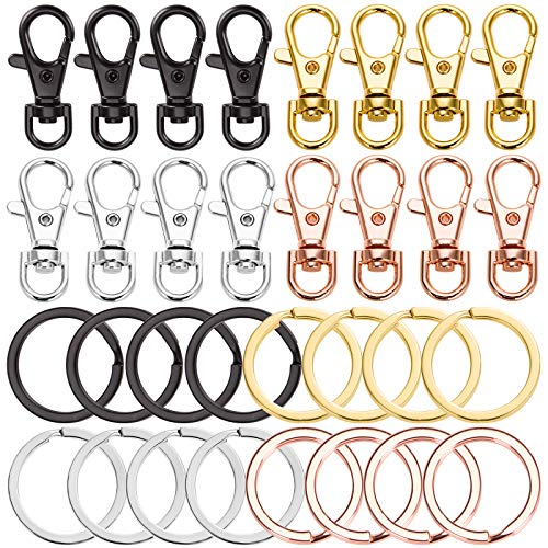 32pcs Key Chain Flat Key Rings Women Metal Swivel Clasps Snap-On Keychain Ring Hook Spring Clip Snap Hook Lobster Clasp for Keys, Lanyards Jewelry Findings, Round Edge, Assorted Color