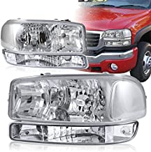 4-Pieces 1999-2006 GMC Sierra 1500 2500 Chrome Housing Headlights+Bumper+Clear Reflector