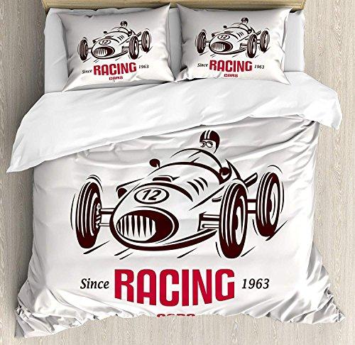 Juego de funda nórdica Cars 3 PCS, estilo retro Race Car Emblem Formula Automobile Icon Speed Competition, juego de cama edredón colcha para niños / adolescentes / adultos / niños, marrón castaño ro