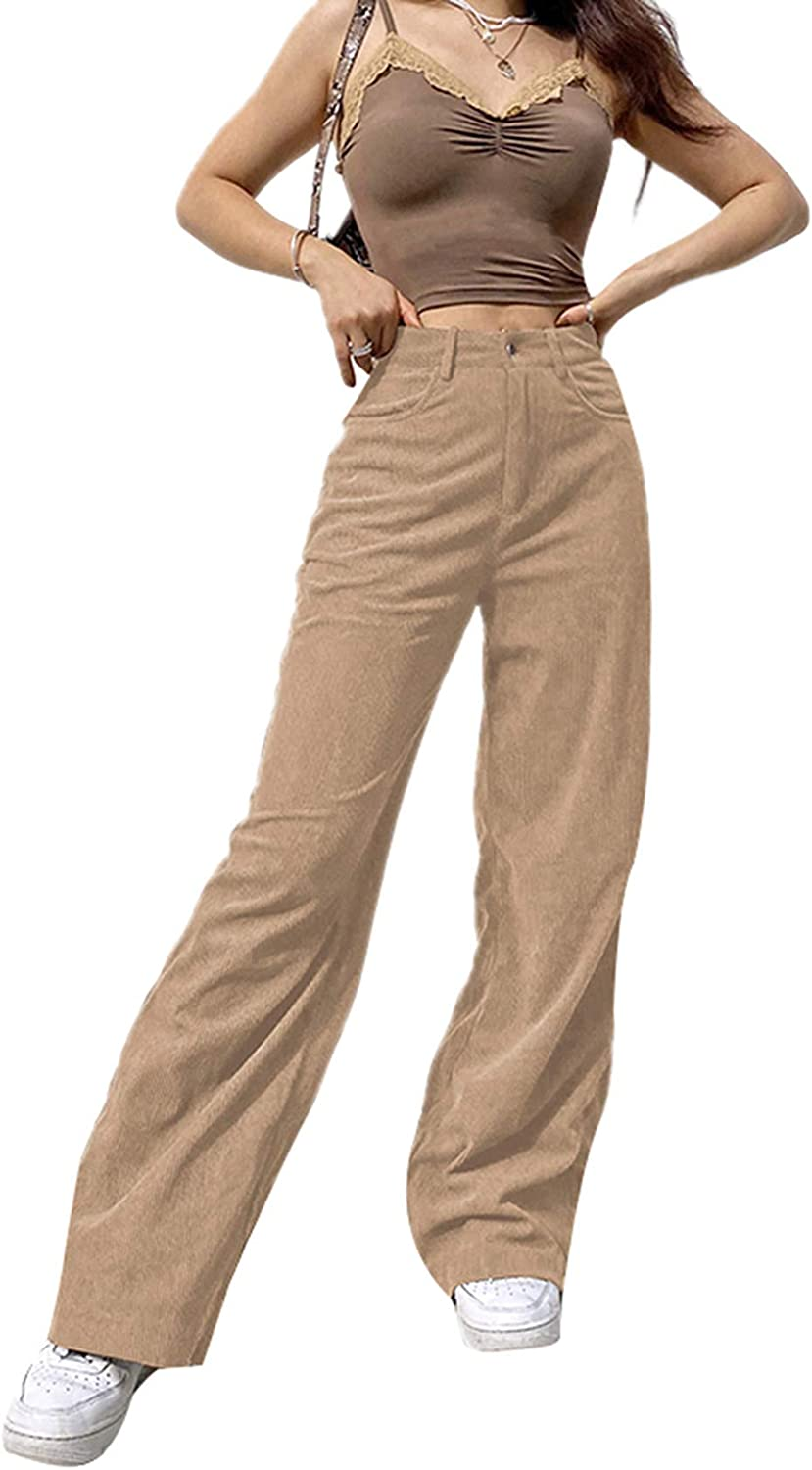 Women's High Waist Corduroy Solid/Patchwork Pants Vintage Y2K Straight Leg Baggy Trousers Casual Hipster Streetwear