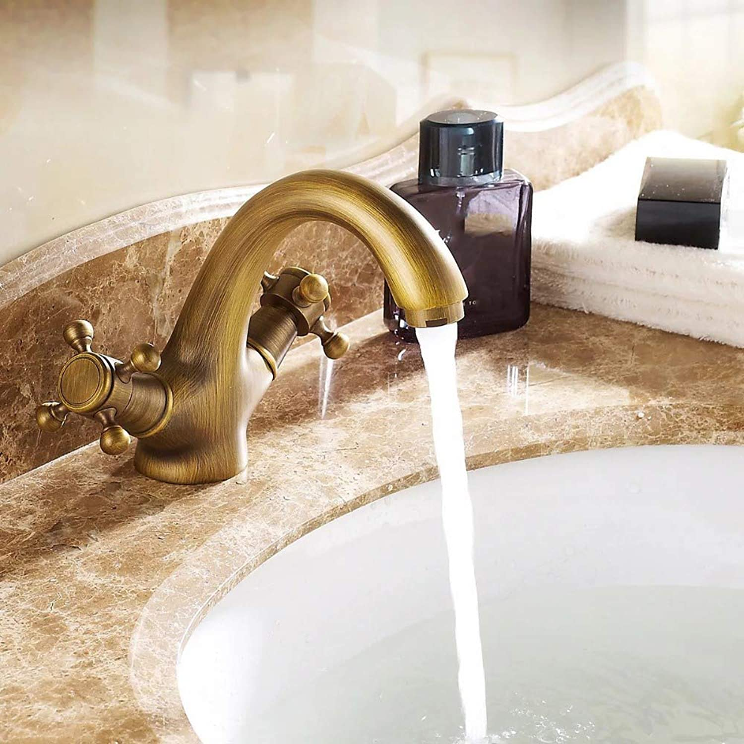 IFELGUD Brass Waterfall Bathroom Faucet Single Handle Sink Faucet Basin Faucet