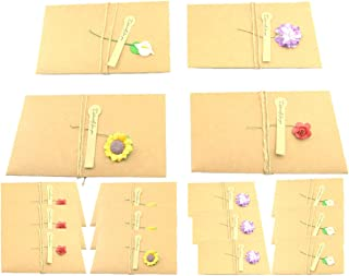 Maydahui 16PCS Greeting Card Vintage Kraft Dried Flower Handmade Thank You notes with Hemp Rope,Envelope Used as Party Invitation Wish Card ( Large - 6.7 X 4.3 Inches )