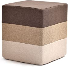 Yxsdd Footstool Pouffe Change Shoes Ottoman Makeup Stool Removable Linen Cover Living Room Bedroom Five Colour (Color : Br...