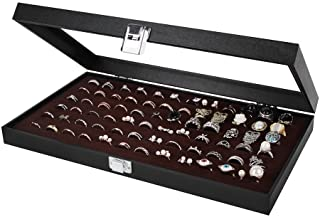 JackCubeDesign Jewelry Ring Display Organizer Storage Box Case Tray Holder with 72 Slot Ring Display(Black Inside Brown Velvet 14.7 x 8.3 x 1.97 inches)-:MK248B