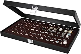 JackCubeDesign Jewelry Ring Display Organizer Storage Box Case Tray Holder with 72 Slot Ring Display(Black, Inside Brown Velvet, 14.7 x 8.3 x 1.97 inches)-:MK248B