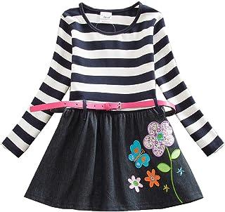 JUXINSU Toddler Girls Stripe Flower Cotton Long Sleeve Dress for Autumn and Winter 3-8 Years LH7026